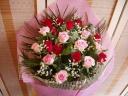 ハッピーになっちゃうピンクレッドローズの花束