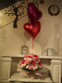 ハートハートバルーン・ピンクのお花