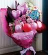 バルーン付生花花束 ピンク系