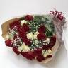 レッド・ホワイト バラの花束