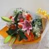 ピンク百合とオレンジガーベラの花束