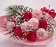 大輪カーネーションピンク(濃淡)mixの華やかな花束