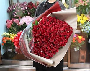 赤いバラ99本の花束プレミアム