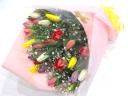 チューリップカラフルミックス30本とかすみ草の花束
