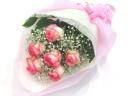 【花束/人気NO.1】ピンクバラとかすみ草の花束