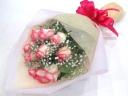 【プレゼントに】ピンクバラとかすみ草の花束