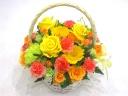 可愛い手付きリボンのバスケット(黄色&オレンジ)