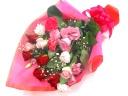 【ギフトに】ピンク&レッド系の上品で華やかな花束