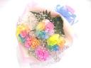 【超人気】レインボーカーネーションとかすみ草の花束