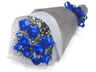 【父の日】《オリジナル染色》青バラとかすみ草の花束
