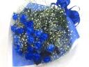 【オリジナル染色】青いバラ20本とかすみ草の花束