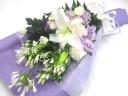 【供花】白&紫系の和花洋花をミックスした上品な花束
