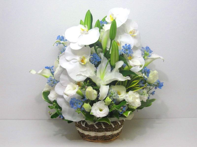 【供花】カサブランカと胡蝶蘭のメモリアルアレンジ