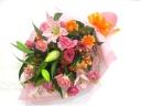 【敬老の日】ピーチオレンジの明るい花束