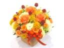 【敬老の日】オレンジバラを入れた秋色アレンジメント
