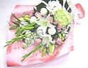 【供花】白系主体に淡いピンクを入れたメモリアル花束