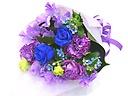 春のブルー&パープル系の上品で貴賓のある花束