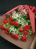 赤薔薇・かすみ草の花束