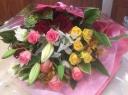 豪華!ユリとバラのミックス花束