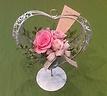 ハート花器入り優しいピンクのプリザーブドフラワー
