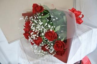 赤バラ&カスミ草