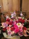 八重咲ガーベラたっぷり♪ピンク&赤の華やかアレンジ