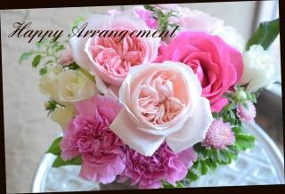 赤・ピンク系 バラをメインに アレンジメント01