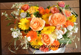 オレンジ系 色鮮やかなアレンジメント 128