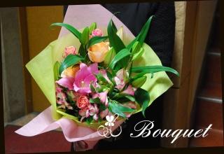 百合をメインに ピンク系 華やかな花束 36