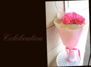 大輪ピンクバラの花束 52