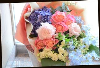 バラをメインに♪ ピンク系 爽やかな花束 63