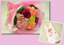 カーネーションの花束と手ぬぐいのセット☆ カーネ