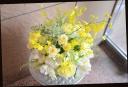 イエロー系 バラと季節の花のアレンジメント 357