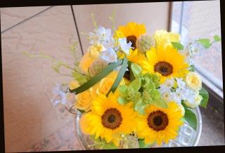 向日葵と季節の花で 爽やかアレンジメント 360