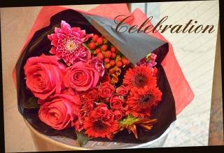 赤・ピンク系 季節の花束 80