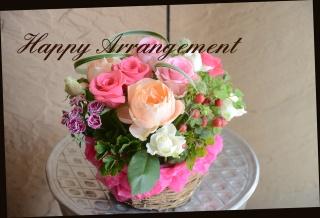 バラと季節の花のアレンジメント 410