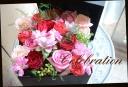 バラと季節の花のボックスアレンジメント 426