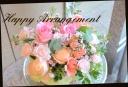 バラと季節の花で パステル系アレンジメント 480