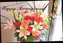 百合やバラの花で華やかなアレンジ 御祝◎