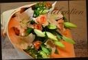 百合とバラの花束 90