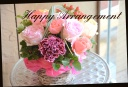 ピンク系 バラと季節の花のアレンジメント 517
