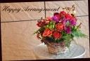 赤系 季節のの花で おまかせアレンジメント 579