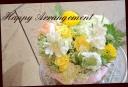 白と黄色の花々で優しい明るめアレンジ