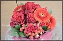 赤バラと赤いガーベラ 深紅のアレンジ