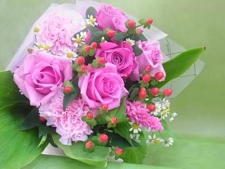 ピンク花束 ブーケタイプ