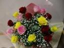【花束】3色の大輪系バラの花束