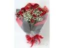 【18本のバラ】赤バラとカスミソウの花束