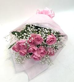 【定番】ピンクバラとかすみ草の花束