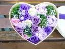 新感覚 シャボンフラワー ハートBOX ばら 紫