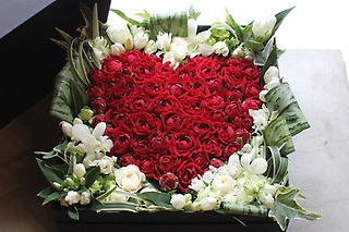 Heart Rose Box Arrangement